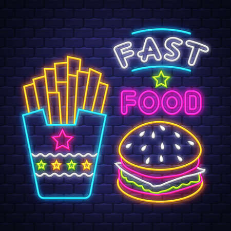 Fast Food - Neon Sign. Fast Food - neon sign on brick wall background Imagens - 151632635