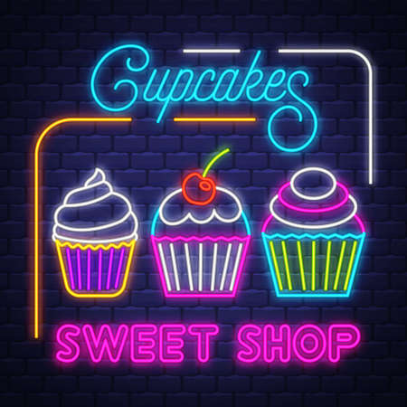 Cupcakes Shop- Neon Sign. Cupcakes Shop - neon sign on brick wall background Imagens - 151632651