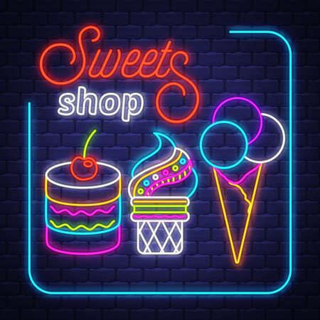 Sweets Shop- Neon Sign. Sweets Shop - neon sign on brick wall background Ilustração