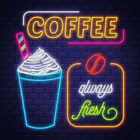 Coffee- Neon Sign. Coffee- neon sign on brick wall background Imagens - 151632659