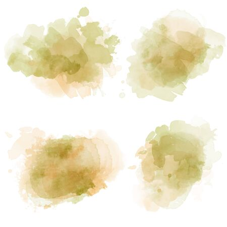 Watercolor stains set isolated on white background. Vector Ilustração