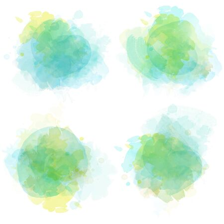Watercolor stains set isolated on white background.