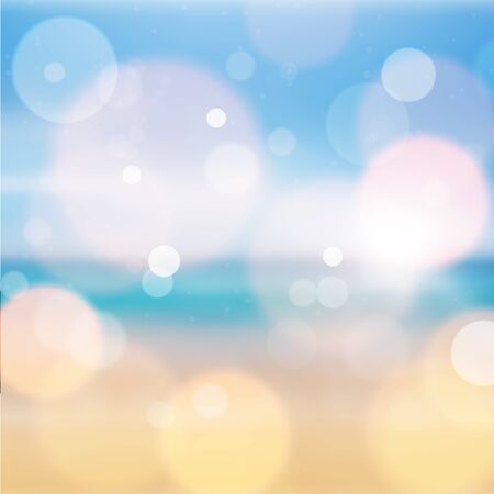 Amazing blue and yellow bokeh abstract background. Vector format Ilustração