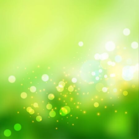Bokeh lights effect on fresh green gradient  background.  Vector format Ilustração