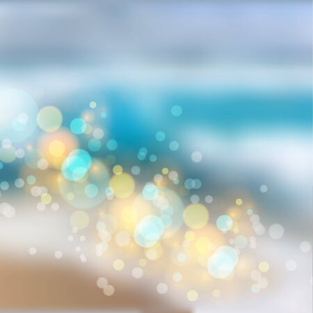 Bokeh lights effect on beach gradient background. Vector format