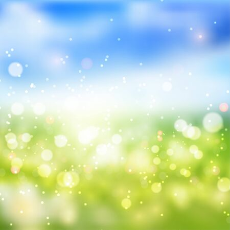 Bokeh lights effect on fresh spring gradient  background.  Vector format Ilustração