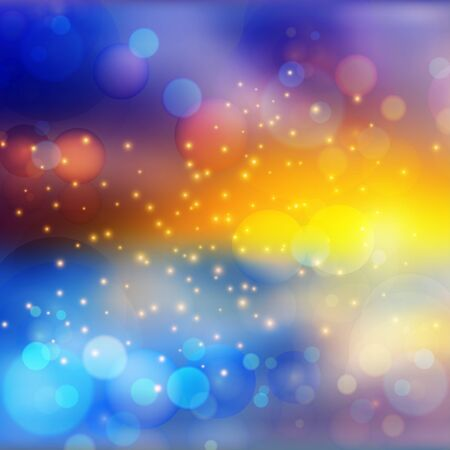 Bokeh lights effect on colorful gradient  background. Vector format