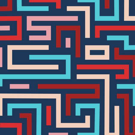 Colorful retro maze background. Vector format