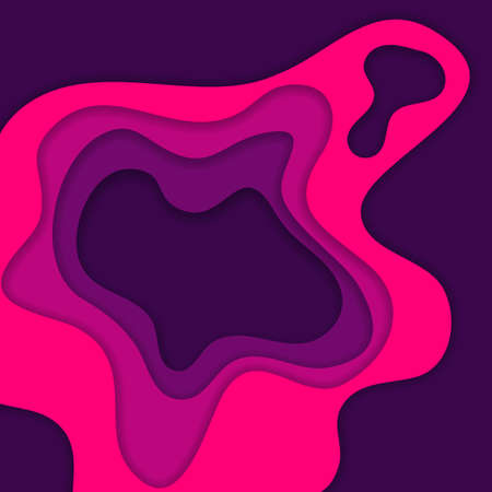 Abstract pink and purple 3D paper cut background. Abstract wave shapes. Vector format Ilustração