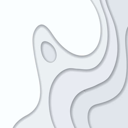 Abstract white and gray 3D paper cut background. Abstract wave shapes. Vector format