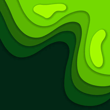 Abstract green 3D paper cut background. Abstract wave shapes. Vector format Ilustração