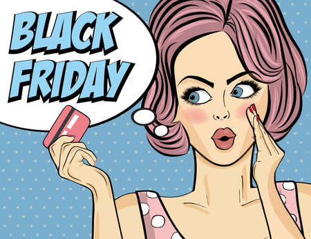 Black friday banner with pin-up girl. Retro style. Vector Imagens - 156905576