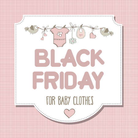 Black friday banner for kids shop.  Vector Imagens - 156905579