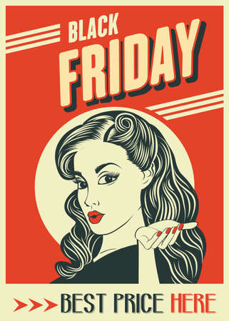 Black friday banner with pin-up girl. Retro style. Vector Imagens - 156905583