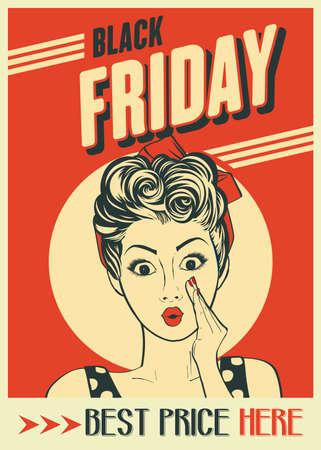 Black friday banner with pin-up girl. Retro style. Vector Imagens - 156905598