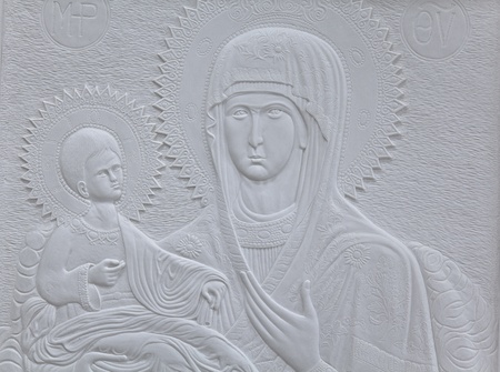 marble carving of the Virgin Mary and Christ photo