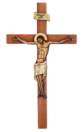 crucify: wooden cross with Christ
