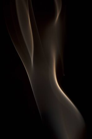 photographic effects: Abstract wave of smoke on a black background. Stock Photo