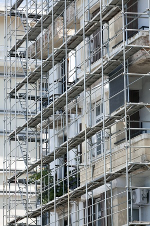 Renovation of old houses with scaffolding Stock Photo - 11096231