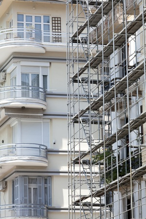 Renovation of old houses with scaffolding