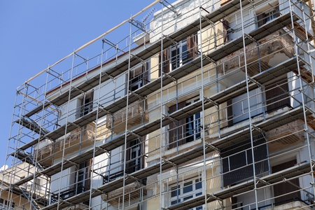 Renovation of old houses with scaffolding Stock Photo - 11096232