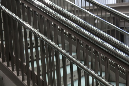 Modern metal staircase on industrial design building