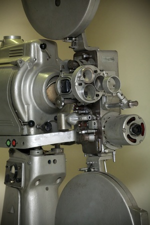 Close up of old fashioned film projector