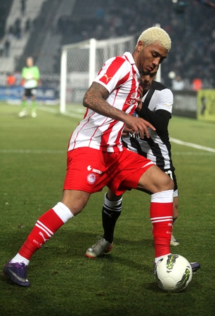 THESSALONIKI, GREECE - FEBRUARY 5: Bertrand Robert (back), Colin Kazim Richards (front) in football match between Paok and Olympiakos (0-2) on February 5, 2012 in Thessaloniki, Greece Stock Photo - 12257405