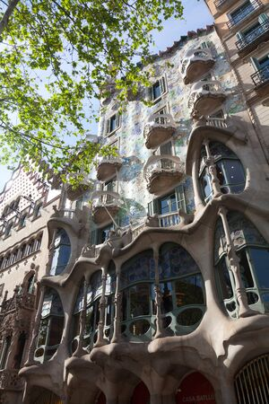 remodelled: BARCELONA - APRIL 14: Casa Battlo is a building restored by Antoni Gaudi and Josep Maria Jujol, built in the year 1877 and remodelled in the years 1904–1906 on April 14, 2012 Barcelona, Spain  Editorial