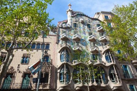 BARCELONA - APRIL 14: Casa Battlo is a building restored by Antoni Gaudi and Josep Maria Jujol, built in the year 1877 and remodelled in the years 1904–1906 on April 14, 2012 Barcelona, Spain Stock Photo - 13337817