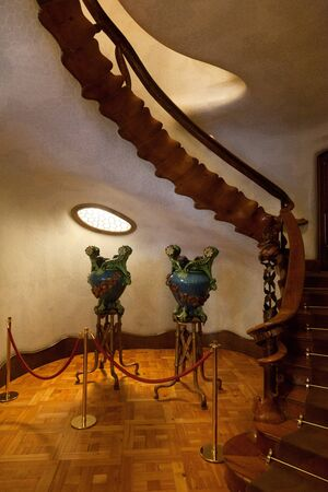 """remodelled: BARCELONA-APRIL 14: Details from Casa Batllo, restored by Antoni Gaudi and Josep Maria Jujol, built in the year 1877 and remodelled in the years 1904-€""""1906. Photo on April 14,2012 in Barcelona,Spain"""