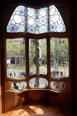 "remodelled: BARCELONA-APRIL 14: Details from Casa Batllo, restored by Antoni Gaudi and Josep Maria Jujol, built in the year 1877 and remodelled in the years 1904-€""1906. Photo on April 14,2012 in Barcelona,Spain"