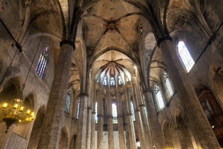 BARCELONA, SPAIN - APRIL 15: interior from gothic cathedral of Santa Maria del Mar on April 15, 2012 in Barcelona, Spain. Built between 1329 and 1383 at the height of Catalonia