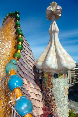 BARCELONA - APRIL 14: Exterior details of the house Casa Battlo (also could the house of bones) designed by Antoni Gaudi with his famous expressionistic style on April 14, 2012 in Barcelona, Spain Stock Photo - 14200513