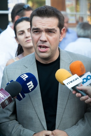 THESSALONIKI, GREECE - SEPTEMBER 10: Alexis Tsipras at the panhellenic protest at the statue of Venizelos in Thessaloniki on September 10, 2011.The organization is done by the Panhellenic Federation of Workers