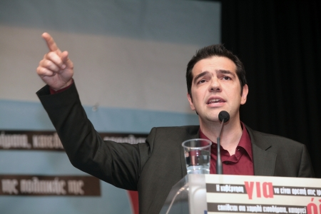 repel: THESSALONIKI, GREECE - SEP 10: Political speech by Alexis Tsipras president of the Radical Left Coalition, as part of the campaign to repel the Covenant for the Euro in the movie hall Alexander on Sep 10, 2011 in Thessaloniki, Greece.  Editorial