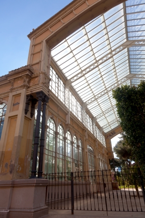 Glass ceiling greenhouse in ciudadela park. Barcelona - Spain photo