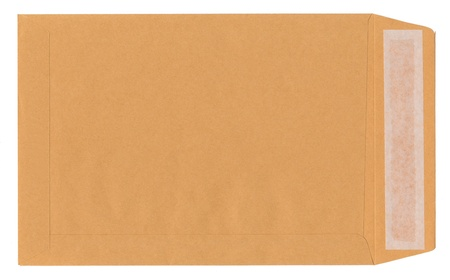 Blank brown envelope on white background photo