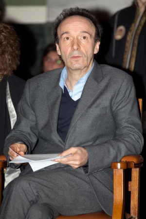 thessaloniki: THESSALONIKI,GREECE - APRIL 4:Roberto Benigni, will be inaugurated as Honorary Lecturer of the Italian Language and Literature Department at the Aristotle University of Thessaloniki on April 4, 2012