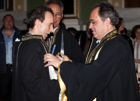 collateral: THESSALONIKI,GREECE - APRIL 4:Roberto Benigni, will be inaugurated as Honorary Lecturer of the Italian Language and Literature Department at the Aristotle University of Thessaloniki on April 4, 2012