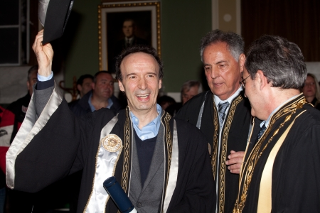 screenwriter: THESSALONIKI,GREECE - APRIL 4:Roberto Benigni, will be inaugurated as Honorary Lecturer of the Italian Language and Literature Department at the Aristotle University of Thessaloniki on April 4, 2012