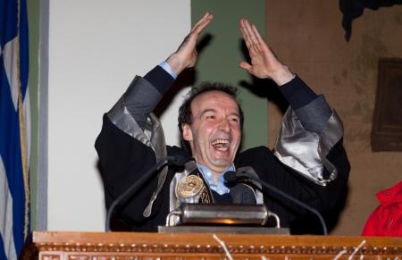 screenwriter: Salonicco, Grecia - 4 aprile: Roberto Benigni, sar� inaugurato come Docente Onorario della lingua italiana e Dipartimento di Letteratura presso l'Universit� Aristotele di Salonicco il 4 Aprile 2012 Editoriali