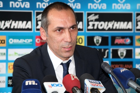 thessaloniki: THESSALONIKI, GREECE - MAY 31: Presentation of the new coach of PAOK George Donis on May 31, 2012 in Thessaloniki, Greece. The first appearance as coach of PAOK (football team)