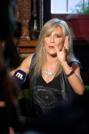 thessaloniki: THESSALONIKI, GREECE - MAY 31: Samantha Fox at a press conference in a small bar in downtown and talks about the concert in order Chalkidiki on May 31, 2012 in Thessaloniki, Greece