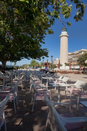 hallmark: ALEXANDROUPOLIS, GREECE - AUGUST 18: The hallmark of the city which is the lighthouse, surrounded with cafeterias and recreational areas on August 18, 2012 in Alexandroupolis, Greece