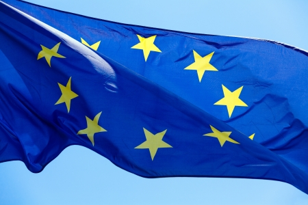 The European Union flag, fluttered in the wind  photo