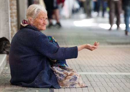 THESSALONIKI, GREECE - JUNE 28: The number of beggars in the city has increased dramatically. The economic crisis has hit the elderly on June 28, 2011 in Thessaloniki, Greece