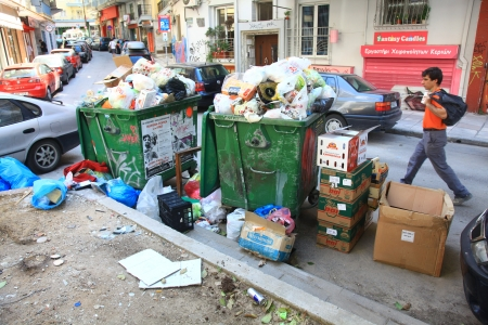 THESSALONIKI, GREECE - JUNE 20: Streets filled with garbage due to garbage men strike for several days in the city of Thessaloniki on June 20, 2011. Stock Photo - 15619792
