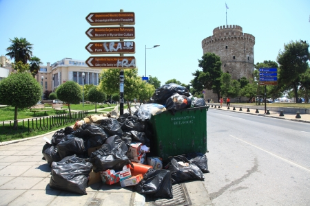THESSALONIKI, GREECE - JUNE 20: Streets filled with garbage due to garbage men strike for several days in the city of Thessaloniki on June 20, 2011.