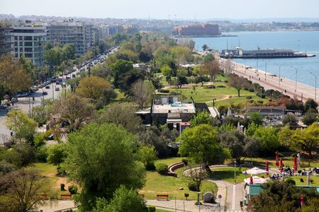 above 21: THESSALONIKI, GREECE - APRIL 21: Regeneration and projects at the side of the beach of Thessaloniki with view from above on April 21, 2011 in Thessaloniki,Greece
